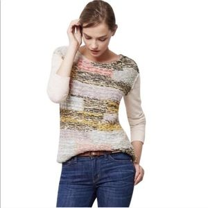 Anthro Moth Cashmere Blend Knit Patchwork Sweater